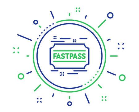 Icona della linea Fastpass. Segno del biglietto del parco di divertimenti Simbolo della pista veloce. Elementi di design di qualità. Pulsante di tecnologia fastpass. Tratto modificabile. Vettore