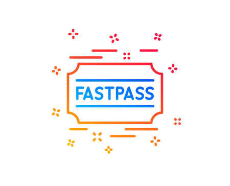 Fastpass line icon. Amusement park ticket sign. Fast track symbol. Gradient design elements. Linear fastpass icon. Random shapes. Vector