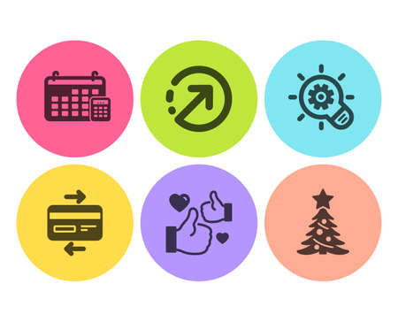 Calendar, Credit card and Cogwheel icons simple set. Like, Direction and Christmas tree signs. Calculator device, Bank payment. Business set. Flat calendar icon. Circle button. Vector