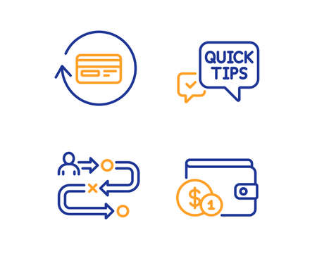 Quick tips, Refund commission and Journey path icons simple set. Buying accessory sign. Helpful tricks, Cashback card, Project process. Wallet with coins. Business set. Linear quick tips icon. Vector