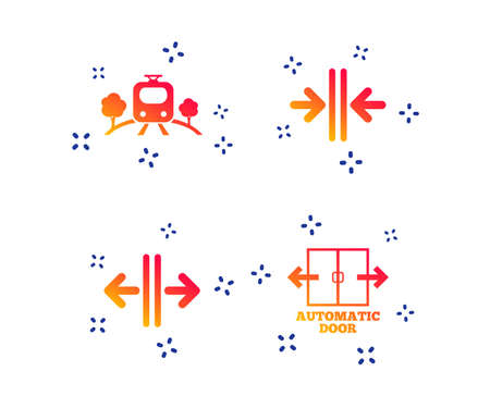 Train railway icon. Overground transport. Automatic door symbol. Way out arrow sign. Random dynamic shapes. Gradient train icon. Vector Illustration