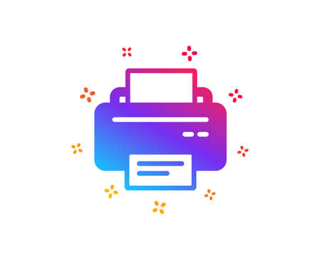 Printer icon. Printout Electronic Device sign. Office equipment symbol. Dynamic shapes. Gradient design printer icon. Classic style. Vector