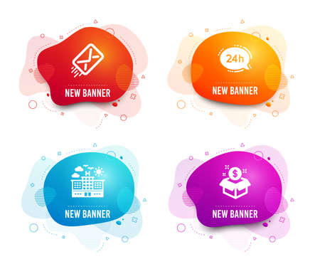 Liquid badges. Set of E-mail, 24h service and Hotel icons. Post package sign. Mail delivery, Call support, Travel. Postbox.  Gradient e-mail icon. Flyer fluid design. Abstract shapes. Vector