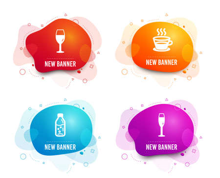 Liquid badges. Set of Wineglass, Water bottle and Coffee cup icons. Champagne glass sign. Burgundy glass, Soda drink, Tea mug. Winery.  Gradient wineglass icon. Flyer fluid design. Abstract shapes