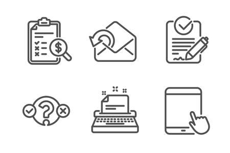 Rfp, Accounting report and Quiz test icons simple set. Send mail, Typewriter and Tablet pc signs. Request for proposal, Check finance. Education set. Line rfp icon. Editable stroke. Vector