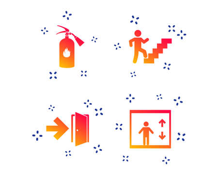 Emergency exit icons. Fire extinguisher sign. Elevator or lift symbol. Fire exit through the stairwell. Random dynamic shapes. Gradient emergency icon. Vector Foto de archivo - 119632470