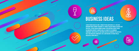 Header banner. Tick, Wineglass and Manager icons simple set. Present delivery, Salary employees and Coupons signs. Confirm check, Burgundy glass. Business set. Line tick icon. Gradient elements Illusztráció