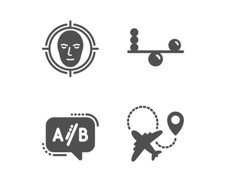 Set of Face detect, Balance and Ab testing icons. Airplane sign. Select target, Concentration, Test chat. Plane.  Classic design face detect icon. Flat design. Vector Archivio Fotografico - 119632547