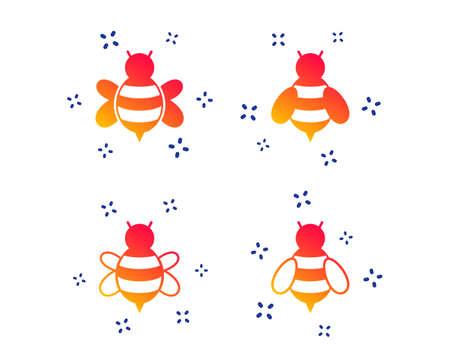 Icônes d'abeilles à miel. Symboles de bourdons. Insectes volants avec des signes de piqûre. Formes dynamiques aléatoires. Icône d'abeille de dégradé. Vecteur