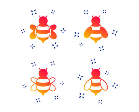 Honey bees icons. Bumblebees symbols. Flying insects with sting signs. Random dynamic shapes. Gradient bee icon. Vector