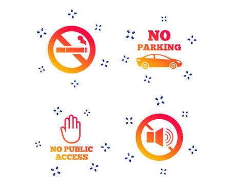 Stop smoking and no sound signs. Private territory parking or public access. Cigarette and hand symbol. Random dynamic shapes. Gradient smoking icon. Vector