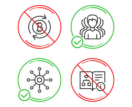 Do or Stop. Group, Refresh bitcoin and Multichannel icons simple set. Technical algorithm sign. Headhunting service, Update cryptocurrency, Multitasking. Project doc. Business set. Line group do icon Illustration