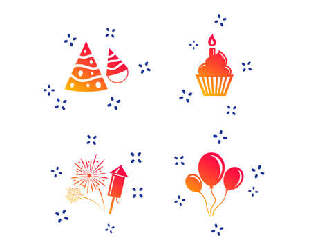 Birthday party icons. Cake, balloon, hat and muffin signs. Fireworks with rocket symbol. Cupcake with candle. Random dynamic shapes. Gradient party icon. Vector