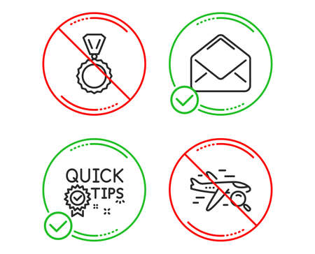 Do or Stop. Quick tips, Mail and Medal icons simple set. Search flight sign. Helpful tricks, E-mail, Winner. Find travel. Business set. Line quick tips do icon. Prohibited ban stop. Good or bad