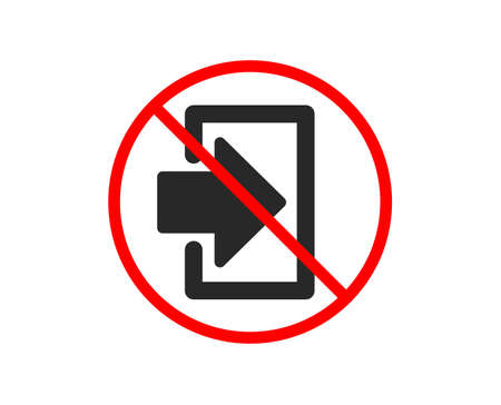 No or Stop. Login arrow icon. Sign in symbol. Navigation pointer. Prohibited ban stop symbol. No login icon. Vector 向量圖像
