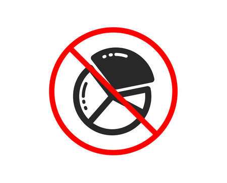 No or Stop. Pie chart icon. Presentation graph sign. Market analytics symbol. Prohibited ban stop symbol. No pie chart icon. Vector Illustration
