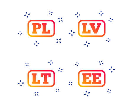 Language icons. PL, LV, LT and EE translation symbols. Poland, Latvia, Lithuania and Estonia languages. Random dynamic shapes. Gradient language icon. Vector Illusztráció