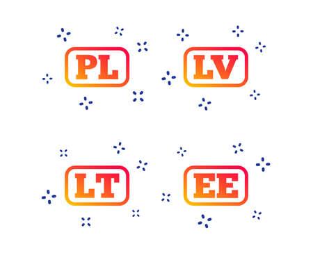 Language icons. PL, LV, LT and EE translation symbols. Poland, Latvia, Lithuania and Estonia languages. Random dynamic shapes. Gradient language icon. Vector Illustration