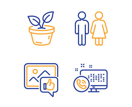 Like photo, Leaves and Restroom icons simple set. Web call sign. Thumbs up, Grow plant, Wc toilet. Phone support. Business set. Linear like photo icon. Colorful design set. Vector Иллюстрация
