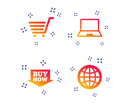 Online shopping icons. Notebook pc, shopping cart, buy now arrow and internet signs. WWW globe symbol. Random dynamic shapes. Gradient shopping icon. Vector