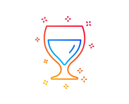 Wine glass line icon. Alcohol drink sign. Beverage symbol. Gradient design elements. Linear wine glass icon. Random shapes. Vector
