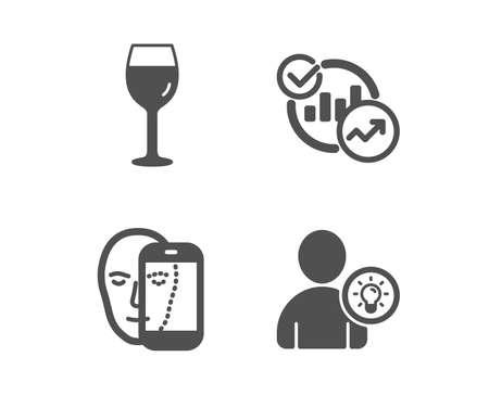 Set of Face biometrics, Wine glass and Statistics icons. User idea sign. Facial recognition, glass, Report charts. Light bulb.  Classic design face biometrics icon. Flat design. Vector