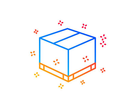 Parcel box line icon. Logistics delivery sign. Package tracking symbol. Gradient design elements. Linear delivery box icon. Random shapes. Vector