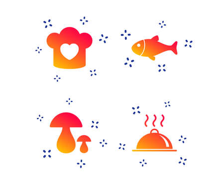 Chief hat with heart and cooking pan icons. Fish and boletus mushrooms signs. Hot food platter serving symbol. Random dynamic shapes. Gradient chef icon. Vector Banque d'images - 119633446