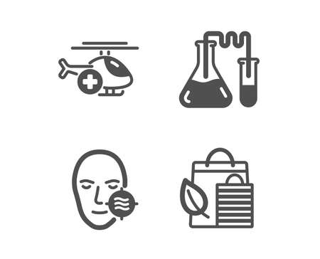 Set of Problem skin, Medical helicopter and Chemistry lab icons. Bio shopping sign. Facial care, Sky transport, Medical laboratory. Leaf.  Classic design problem skin icon. Flat design. Vector