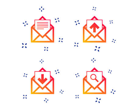 Mail envelope icons. Find message document symbol. Post office letter signs. Inbox and outbox message icons. Random dynamic shapes. Gradient mail icon. Vector