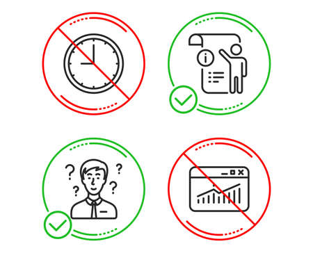 Do or Stop. Manual document, Support consultant and Time icons simple set. Website statistics sign. Project info, Question mark, Office clock. Data analysis. Science set. Line manual doc do icon. Vector