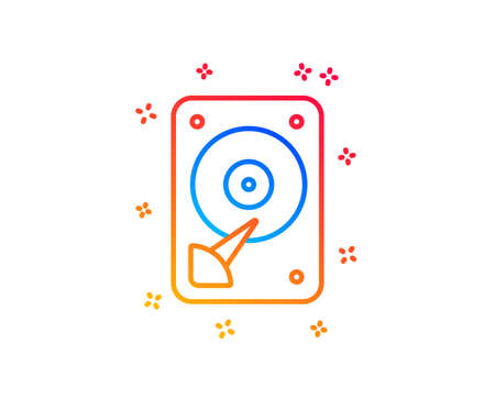 HDD icon. Hard disk storage sign. Hard drive memory symbol. Gradient design elements. Linear hDD icon. Random shapes. Vector