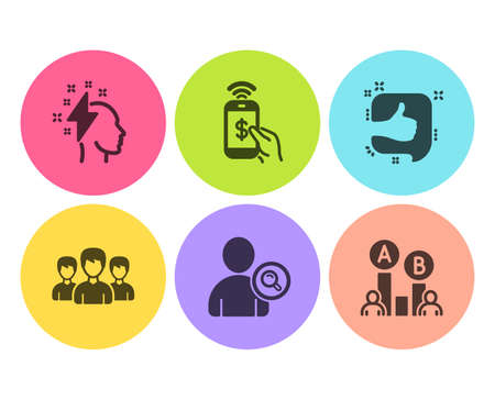 Brainstorming, Like and Phone payment icons simple set. Group, Find user and Ab testing signs. Lightning bolt, Thumb up. People set. Flat brainstorming icon. Circle button. Vector Illustration