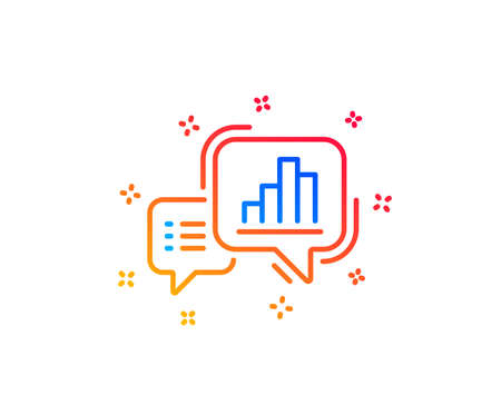 Graph line icon. Column chart sign. Growth diagram symbol. Gradient design elements. Linear graph chart icon. Random shapes. Vector Illustration