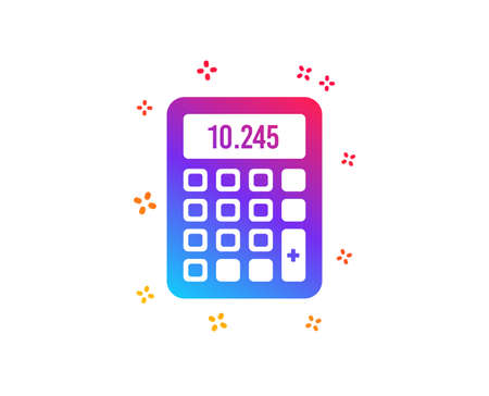 Calculator icon. Accounting sign. Calculate finance symbol. Dynamic shapes. Gradient design calculator icon. Classic style. Vector