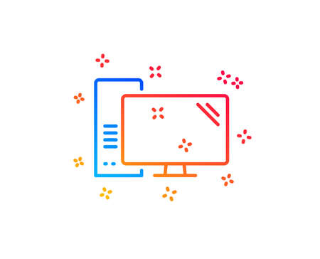 Computer line icon. PC component sign. Monitor with case symbol. Gradient design elements. Linear computer icon. Random shapes. Vector Illustration