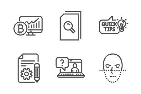Education idea, Search files and Faq icons simple set. Bitcoin chart, Documentation and Face recognition signs. Quick tips, Magnifying glass. Technology set. Line education idea icon. Editable stroke