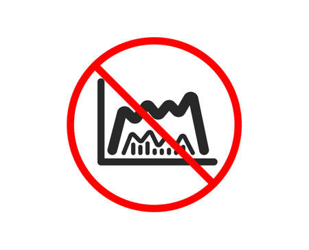 No or Stop. Investment chart icon. Economic graph sign. Stock exchange symbol. Business finance. Prohibited ban stop symbol. No trade chart icon. Vector