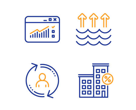 Evaporation, Web traffic and User info icons simple set. Loan house sign. Global warming, Website window, Update profile. Discount percent. Linear evaporation icon. Colorful design set. Vector