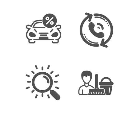 Set of Search, Car leasing and Call center icons. Cleaning service sign. Find document, Transport discount, Recall. Bucket with mop.  Classic design search icon. Flat design. Vector