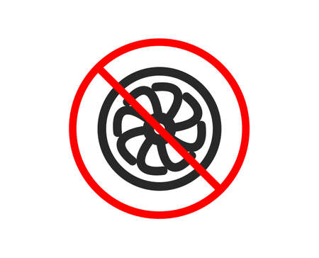 No or Stop. Fan engine icon. Jet turbine sign. Ventilator symbol. Prohibited ban stop symbol. No fan engine icon. Vector Stock Vector - 124229018
