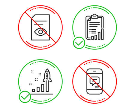 Do or Stop. Development plan, Checklist and View document icons simple set. Message sign. Strategy, Graph report, Open file. Phone messenger. Business set. Line development plan do icon. Vector 向量圖像