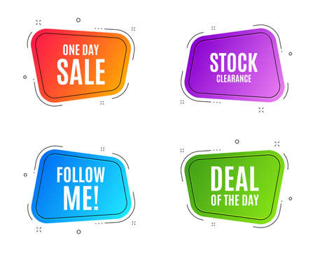 Geometric banners. One day Sale. Special offer price sign. Advertising Discounts symbol. Follow me banner. Clearance sale. Vector