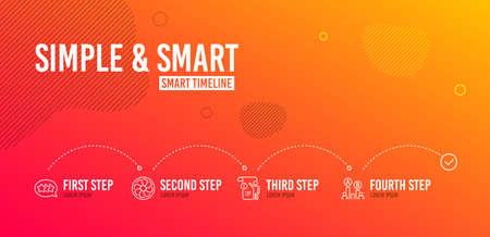 Infographic timeline. Manual document, Stars and Fan engine icons simple set. Ab testing sign. Project info, Customer feedback, Ventilator. Test chart. Technology set. 4 steps layout. Vector