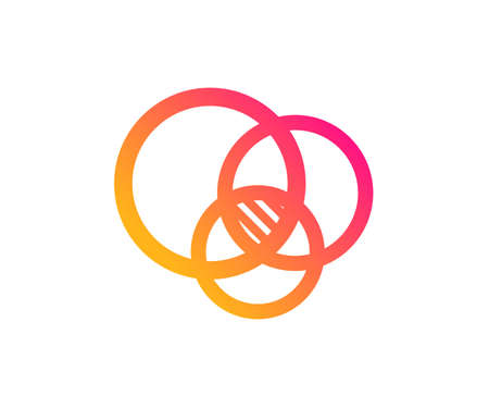 Euler diagram icon. Eulerian circles sign. Relationships chart symbol. Classic flat style. Gradient euler diagram icon. Vector