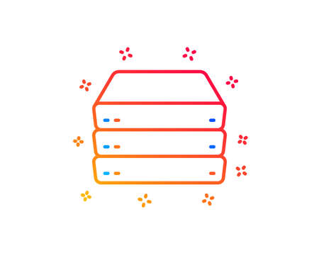 Servers line icon. PC component sign. Big data storage symbol. Gradient design elements. Linear servers icon. Random shapes. Vector