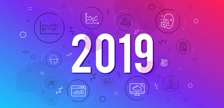 Infographic concept. Checklist, Quick tips and Resilience icons simple set. Diagram chart, Exhibitors and Column diagram signs. Face declined, Website statistics and Cloud storage symbols. 2019 year Illustration