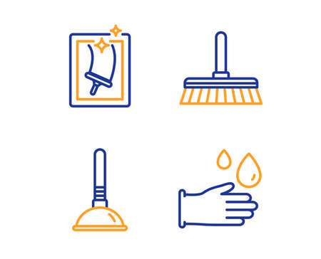 Cleaning mop, Plunger and Window cleaning icons simple set. Rubber gloves sign. Sweep a floor, Clogged pipes cleaner, Housekeeping service. Hygiene equipment. Cleaning set. Linear cleaning mop icon