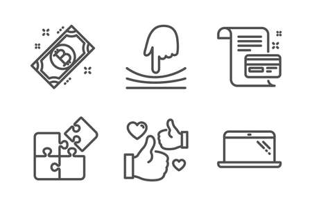 Payment card, Elastic and Bitcoin icons simple set. Puzzle, Like and Laptop signs. Agreement conditions, Resilience. Technology set. Line payment card icon. Editable stroke. Vector