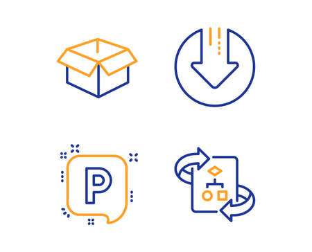 Download arrow, Opened box and Parking icons simple set. Technical algorithm sign. Crisis, Shipping parcel, Auto park. Project doc. Linear download arrow icon. Colorful design set. Vector Ilustração